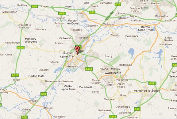 burton upon trent map